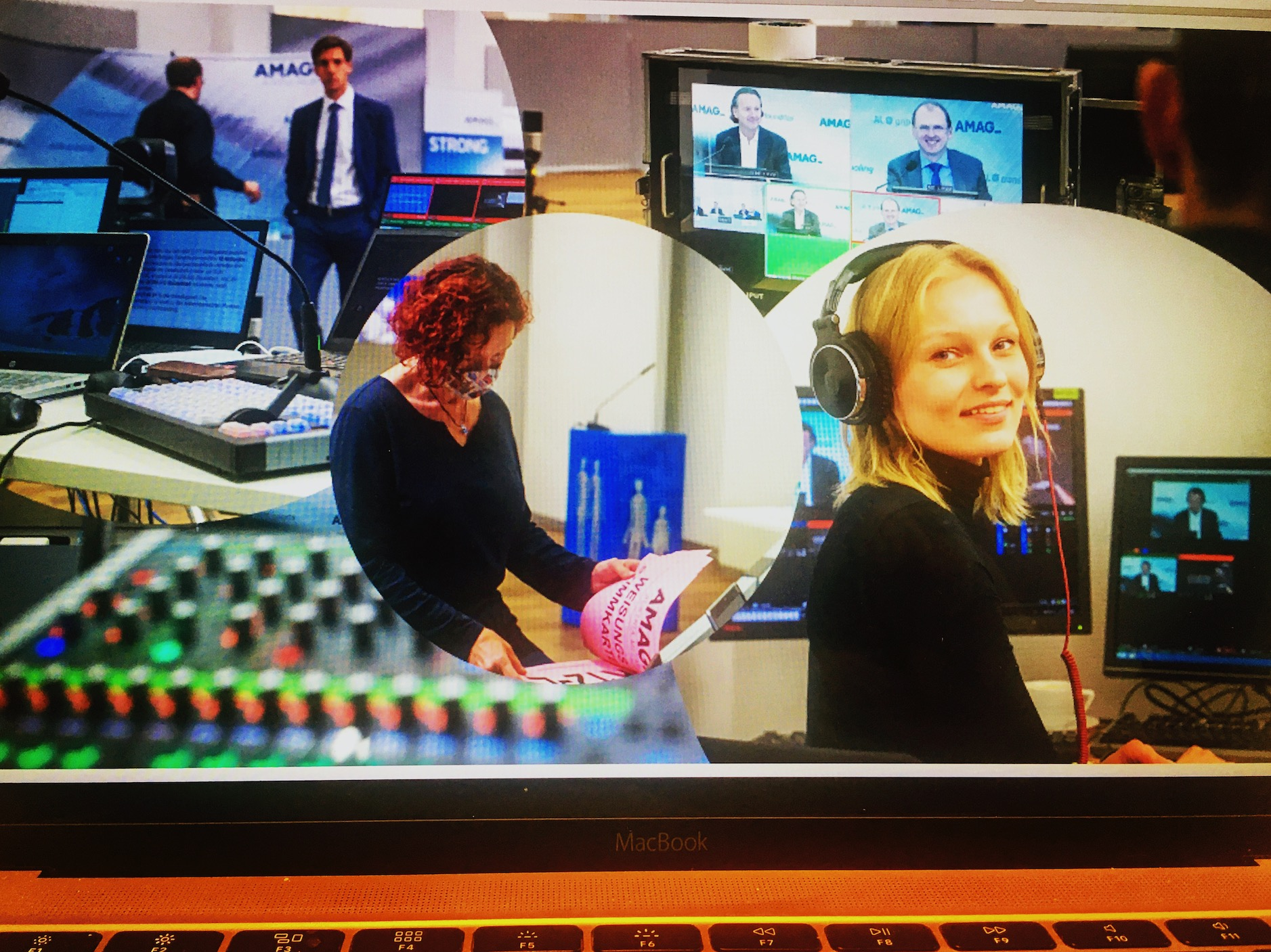 foto collage mit streaming operator bei live streaming hauptversammlung amag