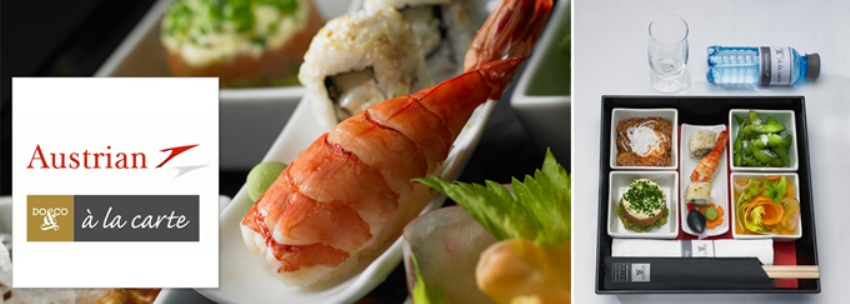 flugzeug airline catering menue mit shripms menü