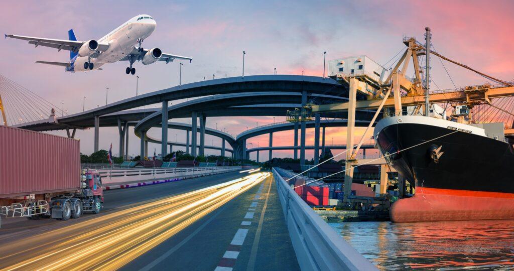 transportwege flugzeug, highway , schiff, autobahn
