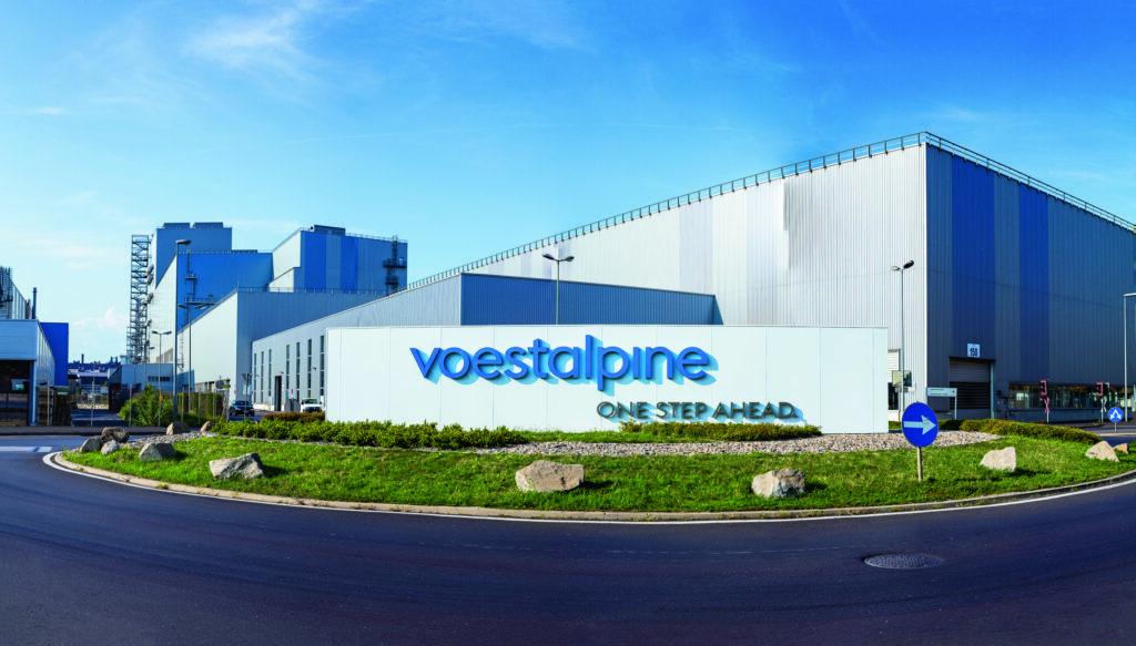 voest alpine werk in Linz Produktionsstätte bei Kreisverkehr stahlwerk